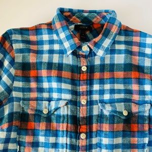 Tops - J.crew plaid flannel button-down (size 4)